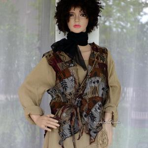 KATI-LUX - bohém selyem mellényke, Ruha & Divat, Női ruha, Mellény, Varrás, Luxus-minőségű  kétoldalas, patchwork-mintás jacquard hernyóselyemből terveztem ezt az aszimmetrikus..., Meska