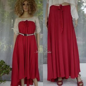 CHERRY- exkluzív hernyóselyem hosszú szoknya, ruha, Ruha & Divat, Női ruha, Alkalmi ruha & Estélyi ruha, Varrás, Luxus-minőségű, gyönyörű meggyszínű krepp hernyóselyemből készült, hátulra hosszabbodó körgloknis sz..., Meska