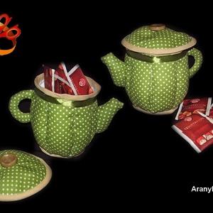 Liliomos teás szett és textil teás kancsó (AranyKarika) - Meska.hu