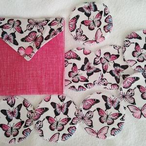 Pink pillangós arctisztító korongok 8db +neszesszer , NoWaste, Textilek, Pamut arctisztító, Textil tároló, Varrás, Mindenmás, Újra és újra használható környezet barát arctisztító korongok. 30 fokon mosógépben mosható. Az ár ta..., Meska