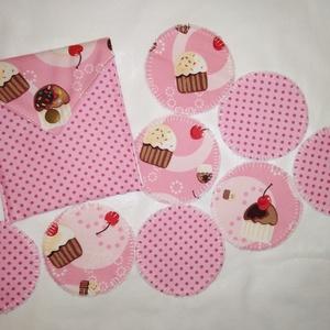 Muffinos-rózsaszín arctisztító korongok 8db +neszesszer , NoWaste, Textilek, Pamut arctisztító, Textil tároló, Varrás, Mindenmás, Újra és újra használható környezet barát arctisztító korongok. 40 fokon mosógépben mosható. Az ár ta..., Meska