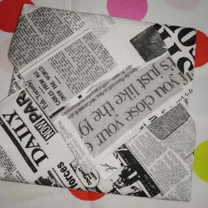 Újság mintás-újraszalvéta, Táska & Tok, Ovi- és sulikezdés, Uzsonna- & Ebéd tartó, Szendvics csomagoló, Varrás, Mindenmás, Meska