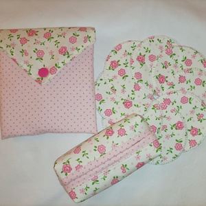 Rózsaszín virágos-pöttyös-arctisztító korong csomag +papírzsebkendő tartó - Meska.hu