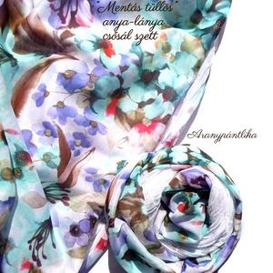 """Anya-lánya csősál szett (\""""Mentás-tüllös\"""") - Aranypántlika, Táska, Divat & Szépség, Ruha, divat, Sál, sapka, kesztyű, Sál, Varrás, Tavaszi-nyári, pillekönnyű anya-lánya csősál szett hófehér, puha tüllből és virágmintás pamutselyemb..., Meska"""