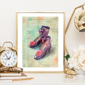 Elnyűtt topánkák, Gyerek & játék, Gyerekszoba, Otthon & lakás, Képzőművészet, Fotó, grafika, rajz, illusztráció, Festészet, Picit elnyűttek, de sok kedves emlék fűződhet ezekhez a régi topánkákhoz ..  :-) \n\nSajat grafikamrol..., Meska
