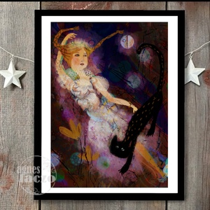 Éjszakai tánc , Gyerek & játék, Gyerekszoba, Otthon & lakás, Képzőművészet, Fotó, grafika, rajz, illusztráció, Festészet, Éjszakai tánc a fekete cicaval.. \n\nSajat grafikamrol keszult nyomat.\nMeret : A4\n\nA kepen lathato ker..., Meska