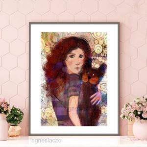 Vörös hajú, Otthon & lakás, Képzőművészet, Illusztráció, Fotó, grafika, rajz, illusztráció, Festészet, \nSajat grafikamrol keszult nyomat.\nMeret : A4\nA keret csak illusztracio!\nA szinek elterhetnek a moni..., Meska