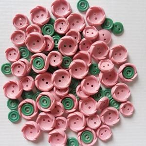 Rózsaszín-zöld gombok, Gomb, Műanyag gomb, Varrás, Gomb, 100 db rózsaszín és zöld színű műanyag gomb.\n\nMéret:10-20 mm\n\nÁra: 800 Ft / 100 db, Meska