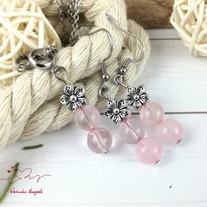 Rózsakvarc virágos romantikus ásvány nyaklánc fülbevaló szett, Ékszer, Ékszerszett, Ékszerkészítés, Gyöngyfűzés, gyöngyhímzés, Meska