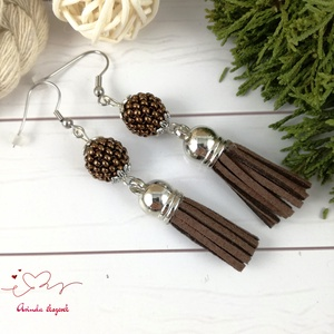 Bojtos fülbevaló antiallergén gyöngyös csoki acél fülbevaló tavaszi nyári ajándék nőnek lánynak esküvőre hétköznapi - Meska.hu