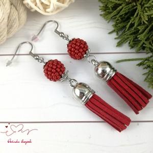 Bojtos fülbevaló antiallergén gyöngyös piros acél fülbevaló tavaszi nyári ajándék nőnek lánynak esküvőre hétköznapi - Meska.hu