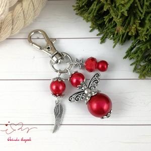 Piros angyalkás kulcstartó táskadísz anyák napja ballagás évzáró pedagógus karácsony szülinap névnap , Kulcstartó, táskadísz, Táska, Divat & Szépség, Naptár, képeslap, album, Könyvjelző, Ékszerkészítés, Gyöngyfűzés, gyöngyhímzés, Piros tekla gyöngyökből angyalkát készítettem, az angyalkát, színben hozzáillő gyöngyöket és egy tib..., Meska