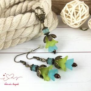 Tavaszi virágok kék zöld virágos nyaklánc fülbevaló szett - Meska.hu