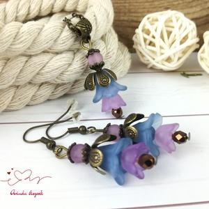 Tavaszi virágok sötétkék lila virágos nyaklánc fülbevaló szett, Ékszer, Ékszerszett, Ékszerkészítés, Gyöngyfűzés, gyöngyhímzés, Meska