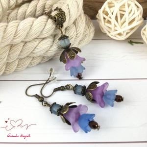 Tavaszi virágok lila kék virágos nyaklánc fülbevaló szett - Meska.hu