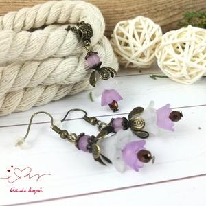 Tavaszi virágok lila fehér virágos nyaklánc fülbevaló szett - Meska.hu