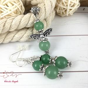 Zöld aventurin angyal ásvány nyaklánc fülbevaló szett - Meska.hu