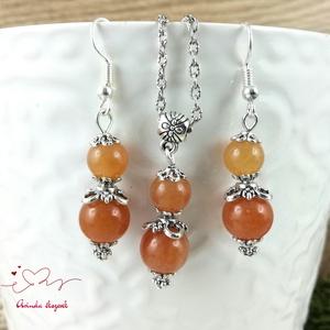 Narancs aventurin ásvány nyaklánc fülbevaló szett - Meska.hu