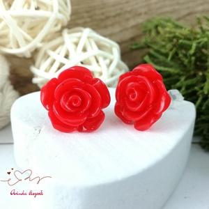 Piros rózsás antiallergén nemesacél acél fülbevaló tavaszi nyári ajándék nőnek lánynak hétköznapra esküvőre - Meska.hu