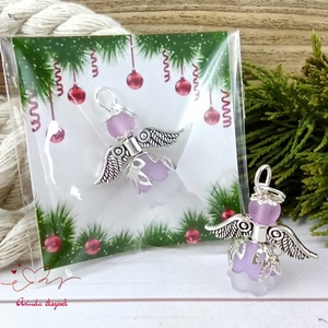 Barátság lila angyal 10 darabos csomag pedagógus karácsony mikulás szülinap névnap medál ajándékkísérő karácsonyfadísz, Karácsony & Mikulás, Karácsonyi dekoráció, Ékszerkészítés, Gyöngyfűzés, gyöngyhímzés, 10 db lila angyalka akryl virágból, színben hozzá illő gyöngyből, filigrán gyöngykupakokból és tibet..., Meska
