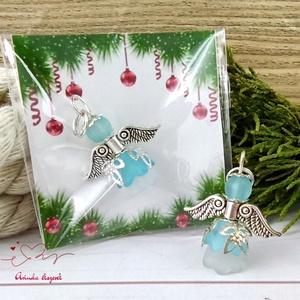 Hűség kék angyal 5 darabos csomag pedagógus karácsony mikulás szülinap névnap medál ajándékkísérő karácsonyfadísz, Karácsony & Mikulás, Karácsonyi dekoráció, Ékszerkészítés, Gyöngyfűzés, gyöngyhímzés, 5 db türkizkék angyalka akryl virágból, színben hozzá illő gyöngyből, filigrán gyöngykupakokból és t..., Meska