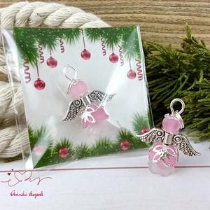 Kedvesség rózsaszín angyal 5 darabos csomag pedagógus karácsony mikulás szülinap névnap medál ajándékkísérő, Karácsony & Mikulás, Karácsonyi dekoráció, Ékszerkészítés, Gyöngyfűzés, gyöngyhímzés, 5 db rózsaszín angyalka akryl virágból, színben hozzá illő gyöngyből, filigrán gyöngykupakokból és t..., Meska