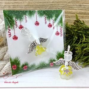 Tudatosság sárga angyal 5 darabos csomag pedagógus karácsony mikulás szülinap névnap medál ajándékkísérő, Karácsony & Mikulás, Karácsonyi dekoráció, Ékszerkészítés, Gyöngyfűzés, gyöngyhímzés, 5 db sárga angyalka akryl virágból, színben hozzá illő gyöngyből, filigrán gyöngykupakokból és tibet..., Meska