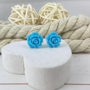 Apró világoskék rózsás antiallergén nemesacél acél fülbevaló tavaszi nyári ajándék nőnek lánynak hétköznapra esküvőre - Meska.hu