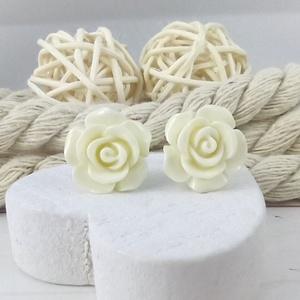 Fehér rózsás antiallergén nemesacél acél fülbevaló tavaszi nyári ajándék nőnek lánynak hétköznapra esküvőre - Meska.hu