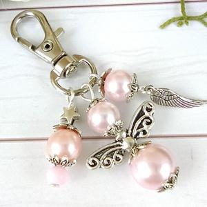 Rózsaszín angyal angyalkás egyedi kulcstartó táskadísz anyák napja ballagás évzáró pedagógus karácsony szülinap névnap , Táska & Tok, Kulcstartó & Táskadísz, Kulcstartó, Ékszerkészítés, Gyöngyfűzés, gyöngyhímzés, Rózsaszín gyöngyökből angyalkát készítettem, az angyalkát, színben hozzáillő gyöngyöket és egy tibet..., Meska