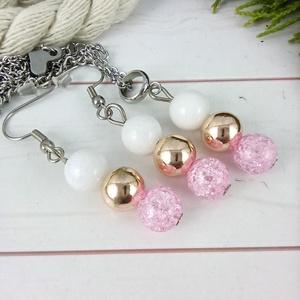 Napsütötte ragyogás pink hegyikristály rosegold hematit jade ásvány nyaklánc fülbevaló orvosi fém nemesacél szerelékkel - Meska.hu