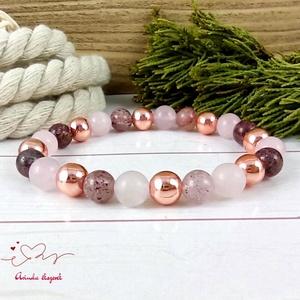 Eperkvarc rosegold hematit és rózsakvarc ásvány karkötő, Ékszer, Karkötő, Gyöngyös karkötő, Ékszerkészítés, Gyöngyfűzés, gyöngyhímzés, 8 mm-es eperkvarc rosegold hematit és rózsakvarc ásvány gyöngyökből készült 18 cm-es karkötő. \nTöbbs..., Meska