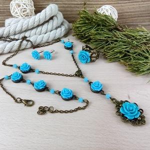 #2 türkizkék rózsás antik bronz szett nyaklánc fülbevaló gyűrű karkötő esküvő alkalmi koszorúslány menyasszony násznagy, Ékszer, Ékszerszett, Ékszerkészítés, Gyöngyfűzés, gyöngyhímzés, Meska