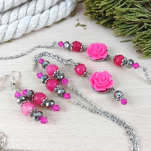 #4 pink rózsás antik ezüst szett nyaklánc fülbevaló karkötő esküvő alkalmi koszorúslány menyasszony násznagy, Ékszer, Ékszerszett, Ékszerkészítés, Gyöngyfűzés, gyöngyhímzés, Meska