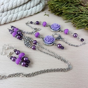 #5 lila rózsás antik ezüst szett nyaklánc fülbevaló karkötő esküvő alkalmi koszorúslány menyasszony násznagy - Meska.hu