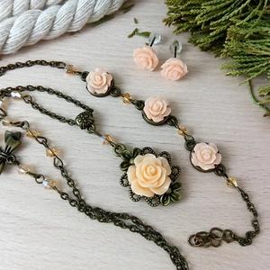 #8 Barack rózsás szett nyaklánc fülbevaló karkötő vintage esküvő alkalmi koszorúslány örömanya menyasszony násznagy - Meska.hu