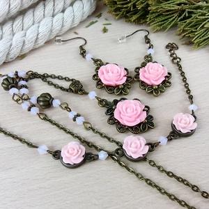 #22 rózsaszín rózsás szett nyaklánc fülbevaló karkötő vintage esküvő alkalmi koszorúslány örömanya menyasszony násznagy - Meska.hu