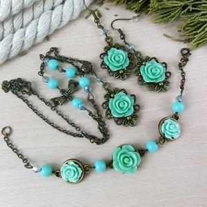 #27 zöld rózsás szett nyaklánc fülbevaló karkötő vintage esküvő alkalmi koszorúslány örömanya menyasszony násznagy - ékszer - ékszerszett - Meska.hu