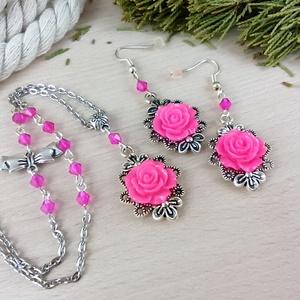 #42 pink rózsás sötét ezüst szett nyaklánc fülbevaló esküvő alkalmi koszorúslány örömanya menyasszony násznagy - ékszer - ékszerszett - Meska.hu
