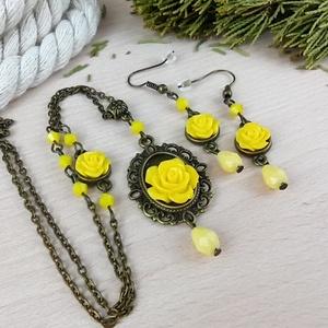 #46 sárga rózsás antik bronz szett nyaklánc fülbevaló esküvő alkalmi koszorúslány örömanya menyasszony násznagy - Meska.hu
