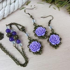 #47 lila rózsás antik bronz szett nyaklánc fülbevaló esküvő alkalmi koszorúslány örömanya menyasszony násznagy - ékszer - ékszerszett - Meska.hu