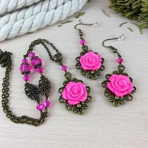 #50 pink rózsás antik bronz szett nyaklánc fülbevaló esküvő alkalmi koszorúslány örömanya menyasszony násznagy - ékszer - ékszerszett - Meska.hu
