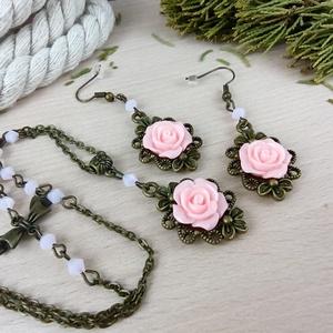 #51 rózsaszín rózsás antik bronz szett nyaklánc fülbevaló esküvő alkalmi koszorúslány örömanya menyasszony násznagy - Meska.hu
