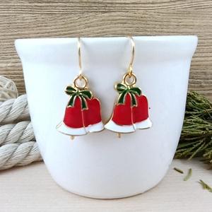Piros harang fülbevaló karácsonyra mikulásra télire adventi kalendáriumba nőnek lánynak, Ékszer, Fülbevaló, Lógós fülbevaló, Ékszerkészítés, Gyöngyfűzés, gyöngyhímzés, Vidám, karácsonyi hangulatú fülbevaló arany színű díszítéssel és fülbevalóalappal. \nTeljes hossza ak..., Meska