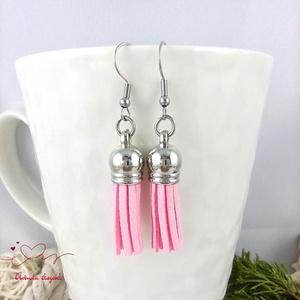 Rózsaszín bojtos fülbevaló antiallergén acél tavaszi nyári ajándék nőnek lánynak hétköznapra esküvőre - Meska.hu