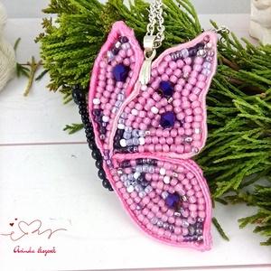 Pink pillangó sujtás nyaklánc acél lánccal esküvő alkalmi koszorúslány örömanya násznagy ünnepi elegáns, Esküvő, Nyaklánc, Ékszer, Ékszerkészítés, Gyöngyfűzés, gyöngyhímzés, Meska