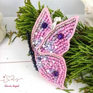 Rózsaszín pillangó sujtás nyaklánc acél lánccal esküvő alkalmi koszorúslány örömanya násznagy ünnepi elegáns - Meska.hu