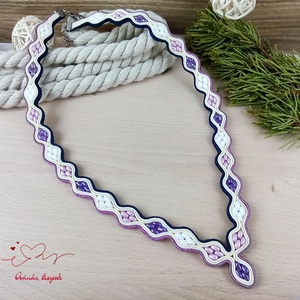 Lila sötétkék hullámok sujtás nyaklánc nyakék karkötő fülbevaló szett - ékszer - ékszerszett - Meska.hu