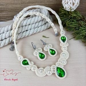 Zöld csillogás sujtás nyaklánc fülbevaló karkötő szett esküvőre koszorúslány menyecske örömanya násznagy ünnepi - ékszer - ékszerszett - Meska.hu