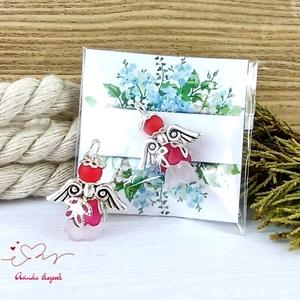 Védelmező piros angyal 5 darabos csomag pedagógus karácsony mikulás szülinap névnap medál ajándékkísérő karácsonyfadísz, Karácsony & Mikulás, Karácsonyi dekoráció, Ékszerkészítés, Gyöngyfűzés, gyöngyhímzés, Meska